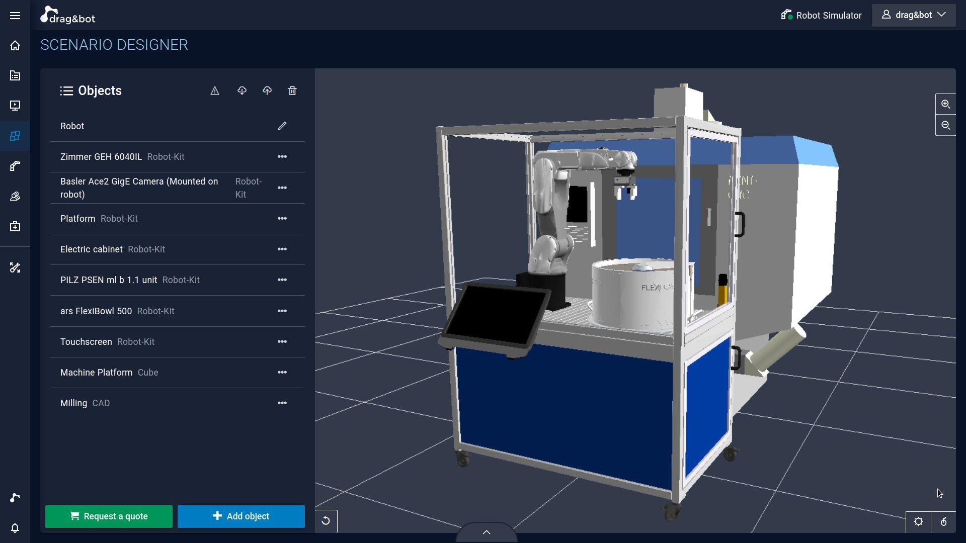 drag&bot Robot-Kit Konfiguration im Scenario Designer
