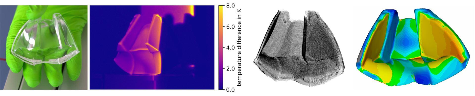 RGB-Farbfoto, thermischer Streifen, 3D-Punktwolke und Referenzvergleich (Quelle: Fraunhofer IOF)